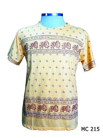 Camiseta Indiana Masculina Elefantes Amarela