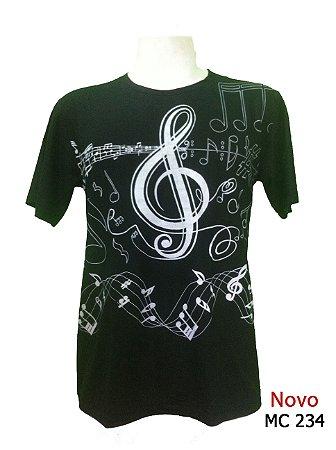 Camiseta Masculina Notas Musicais - 2 cores disponíveis