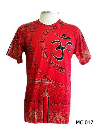 Camiseta Indiana Masculina Mantra Om Vermelha
