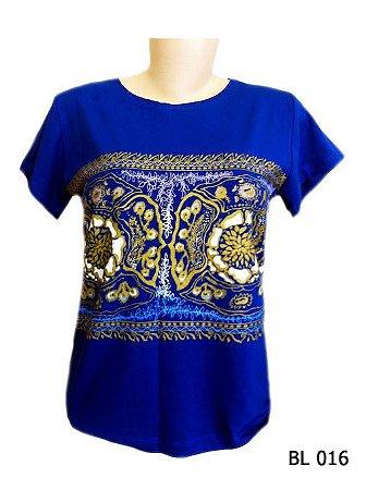 Camiseta Indiana Feminina Etnica Azul e Dourada