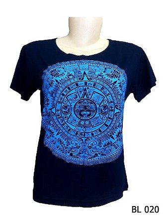 Camiseta Indiana Feminina Mandala Asteca Marinho