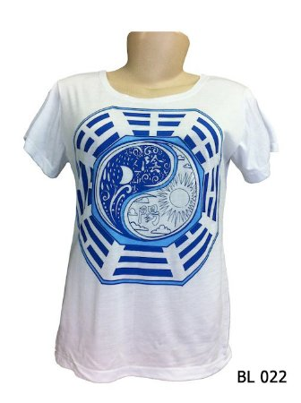 Camiseta Indiana Feminina Yin-Yang Branca e Azul