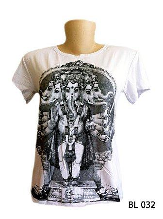 Camiseta Indiana Feminina Ganesha Branca