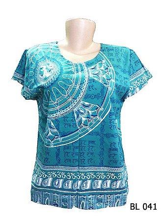 Camiseta Indiana Feminina Mantra Om Flor de Lótus Verde