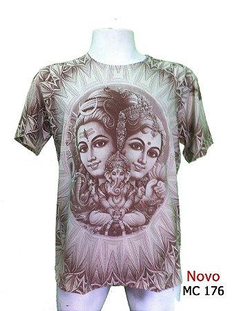 Camiseta Indiana Masculina Shiva, Lakshmi e Ganesha Cores