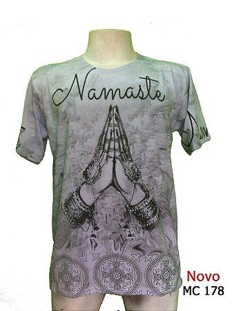 Camiseta Indiana Masculina Namastê Cinza