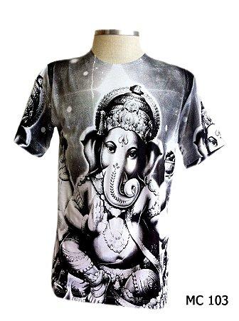 Camiseta Indiana Masculina Ganesha Branca