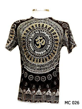 Camiseta Indiana Masculina Mandala Mantra Om Marrom