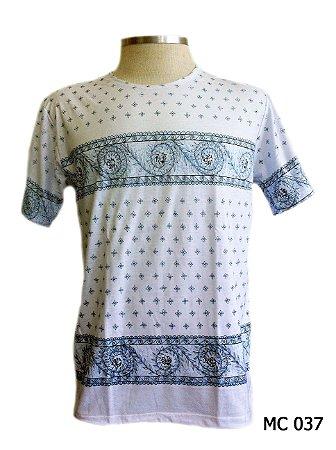 Camiseta Indiana Masculina Mandalas Branca