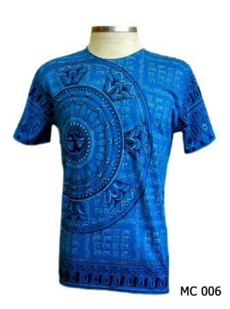 Camiseta Indiana Masculina Mandala Flor de Lótus Azul