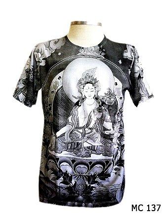 Camiseta Indiana Masculina Deusa Tara Flor de Lótus Cinza