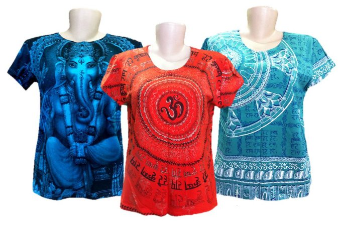 Kit 3 Camisetas Indianas Femininas Várias Estampas