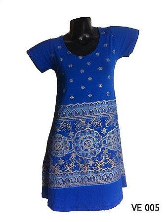Vestido Indiano Curto Estampado Mandala Om Azul