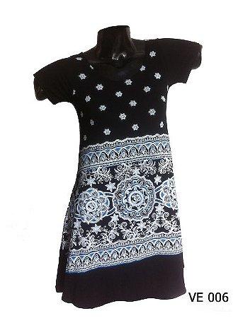 Vestido Indiano Curto Estampado Mandala Om Preto e Branco