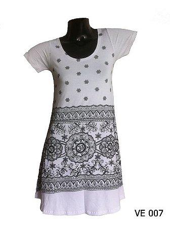 Vestido Indiano Curto Estampado Mandala Om Branco
