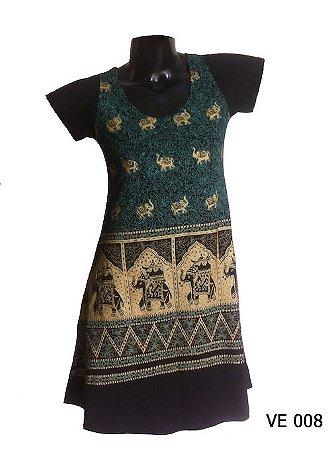 Vestido Indiano Curto Estampado Elefantes Verde