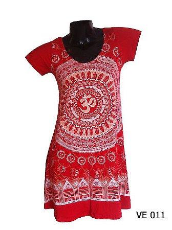 Vestido Indiano Curto Estampado Mandala Mantra Om Vermelho