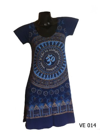Vestido Indiano Curto Estampado Mandala Mantra Om Marinho