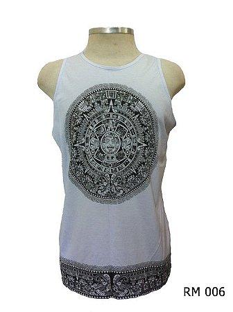 Regata Indiana Masculina Mandala Asteca Branca