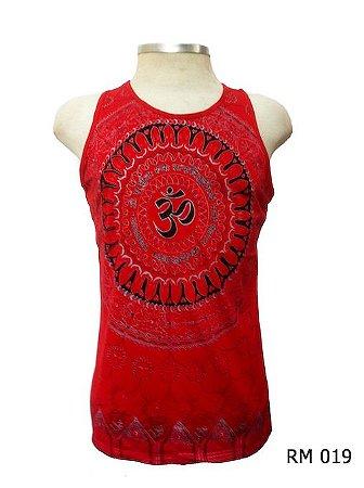 Regata Indiana Masculina Mandala Mantra Om Vermelha