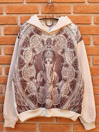 Moletom Indiano Flanelado Com Capuz Unissex Ganesha Bege