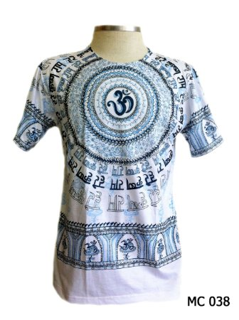 Camiseta Indiana Masculina Mantra Om Branca e Azul