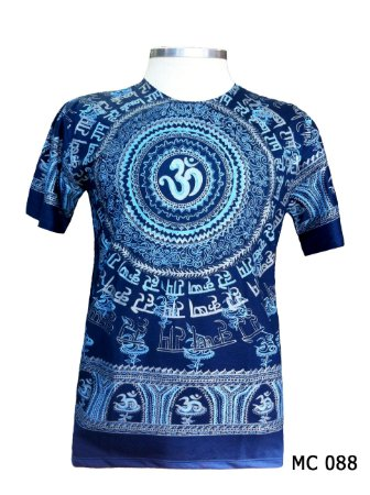Camiseta Indiana Masculina Mantra Om Azul