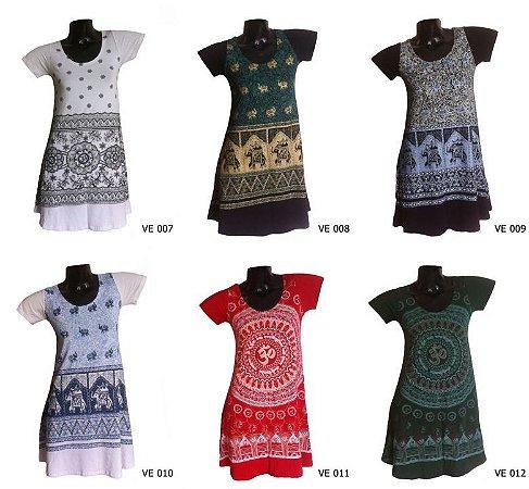Lote 20 Vestidos Indianos Curtos Estampados - Várias Estampas