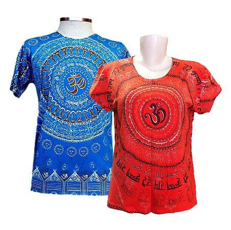 Kit 1 Camiseta Indiana Masculina + 1 Baby Look Indiana Feminina