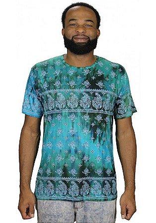 Camiseta Indiana Unissex Dália Tie-Dye-Turquesa
