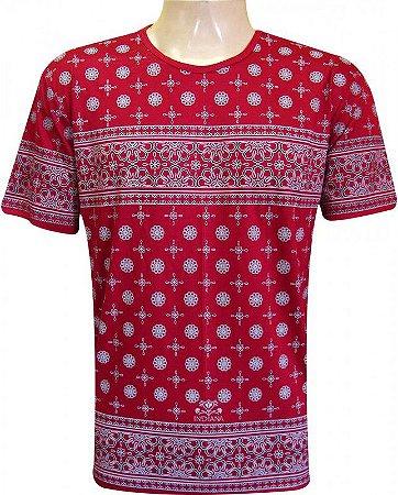 Camiseta Indiana Unissex Mandalas Vermelha
