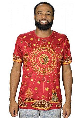 Camiseta Indiana Unissex Zodíaco Vermelha