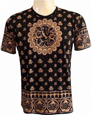 Camiseta Indiana Unissex Mantra Om Ganesha Preta