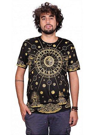 Camiseta Indiana Unissex Zodíaco Preta