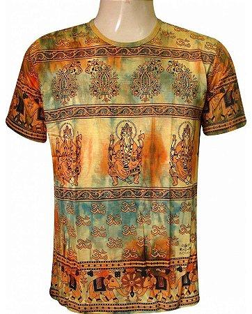 Camiseta Indiana Unissex Tie-Dye Ganesha Amarela