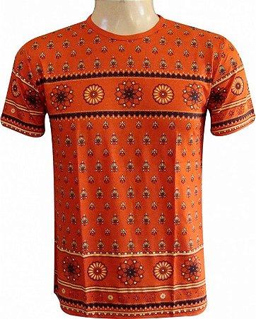 Camiseta Indiana Unissex Mandalas Laranja