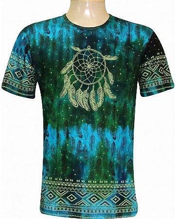 Camiseta Indiana Unissex Tie-Dye Filtro dos Sonhos Turquesa