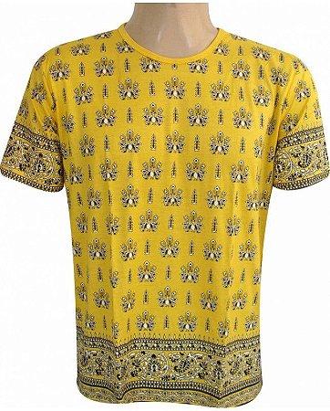 Camiseta Indiana Unissex Pavão Amarela