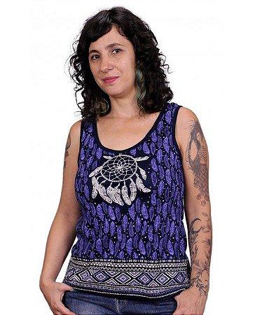 Regata Indiana Feminina Filtro dos Sonhos Azul Marinho