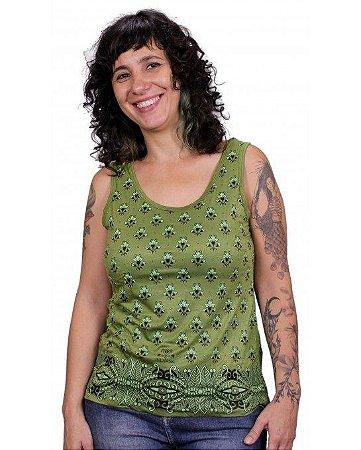 Regata Indiana Feminina Floral Estampada Verde