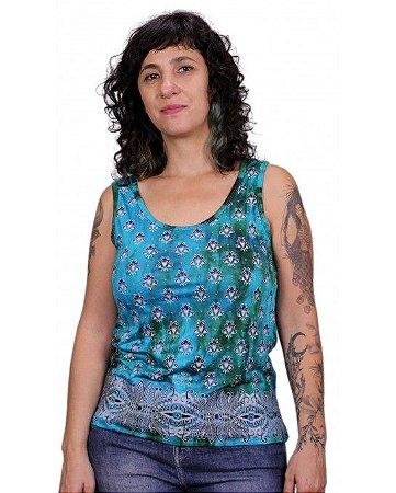 Regata Indiana Feminina Estampada Tie-Dye Turquesa