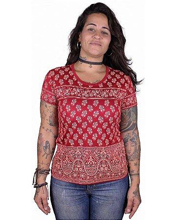Baby Look Indiana Feminina Floral Vermelha