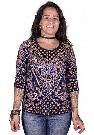 Baby Look 3/4 Indiana Feminina Lírios Mandala Azul Marinho