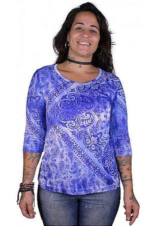 Baby Look 3/4 Indiana Feminina Bandana Tie-dye Royal