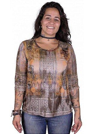Baby Look 3/4 Indiana Feminina Máscaras Tie-dye Caqui