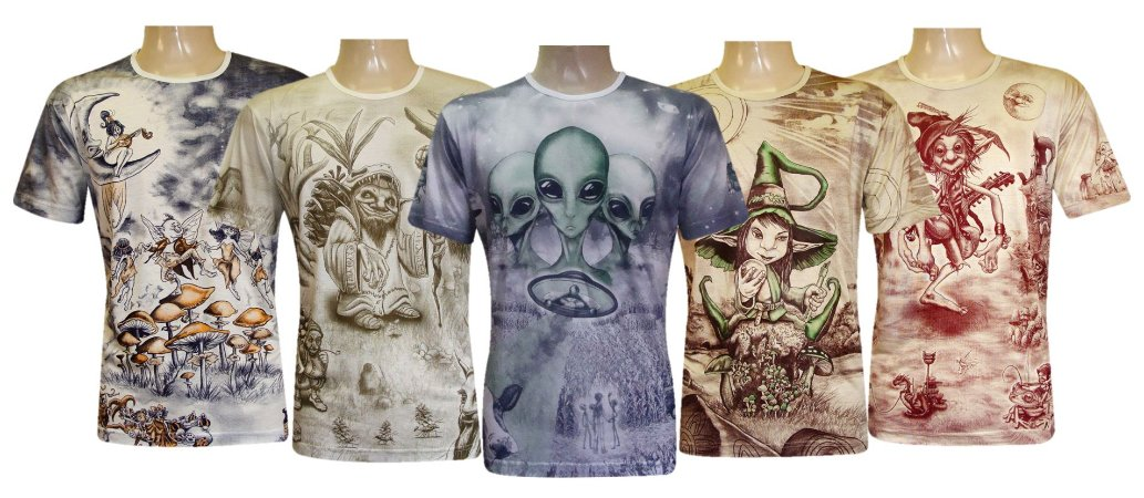 Kit 5 Camisetas Indianas Unissex Místicas Sortidas