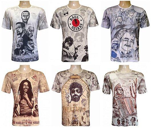Kit/Lote 20 Camisetas Indianas Unissex Personalidades Sortidas
