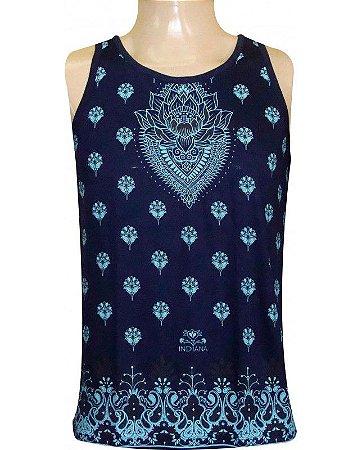 Regata Indiana Masculina Flor de Lótus Azul