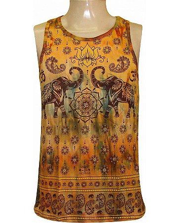 Regata Indiana Masculina Elefantes Tie-Dye Amarela