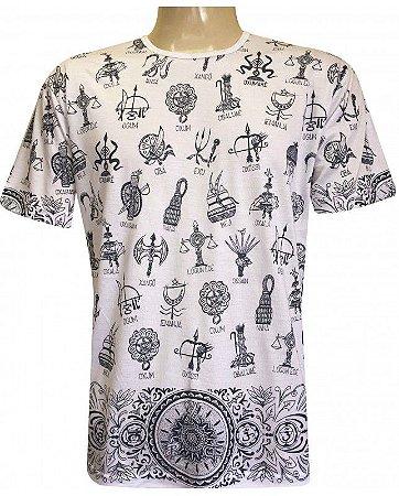 Camiseta Indiana Unissex Ferramentas Orixás